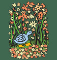 blue duck on the river bank vector image vector image