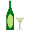 bottle and glass with drink vector image vector image