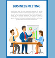 business meeting people sitting at table vector image vector image