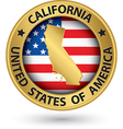 California state gold label with state map vector image vector image