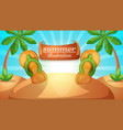 cartoon summer landscape flip flops vector image