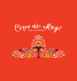 cinco de mayo card mariachi hat and decoration vector image