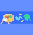 clothes donation flat lines concept with open box vector image vector image