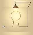 Creative keyhole with light bulb idea vector image