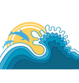 dolphins in blue sea wavevector cartoons seascape vector image vector image