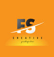 fs f s letter modern logo design with yellow vector image vector image