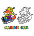 funny fox rides on sleigh or sled coloring book vector image vector image