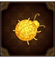 Gold ladybug icon with lace elegant ornament vector image vector image