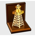 Golden figure electric tower in gift box vector image