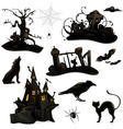 halloween of black silhouettes vector image vector image