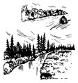 hand drawn landscapes with a river sketch vector image vector image