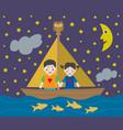 kids sailing adventure into night