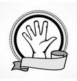 label with gestures human hand vector image vector image