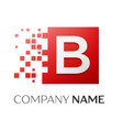 letter b logo symbol in the colorful square with vector image vector image