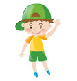 little boy with green hat waving vector image
