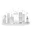 miami city skyline vector image vector image