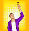 pop art beauty man holding flower vector image vector image