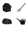 poultry house pitchfork greenhouse watering can vector image vector image
