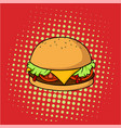 retro delicious hamburger junk food pop art vector image vector image