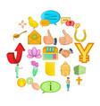 sacrificing icons set cartoon style vector image vector image