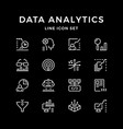 set line icons data analytics vector image vector image