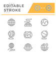 set line icons globe vector image vector image
