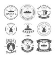 set of nine bakery label and badges design vector image