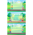 set of posters with people doing sport in park vector image
