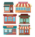 set of shops a collection of small cartoon shops vector image vector image