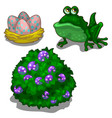 set of toad bush with berries and nest with eggs vector image vector image