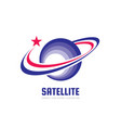 space satellite logo in classic graphic vector image