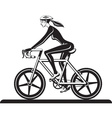 sporty girl training with bicycle vector image vector image