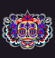sugar skeleton with flowers and mexico ornaments vector image