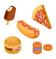 tasty fast food isolated on white background vector image vector image