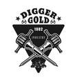 two jackhammers gold digger emblem vector image vector image