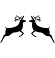two reindeer leap towards each other vector image vector image