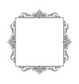 vintage square stylish black frame with lotus vector image vector image