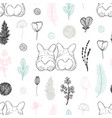 pastel seamless pattern with hand drawn dogs and vector image
