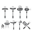 set of grill icon symbol vector image
