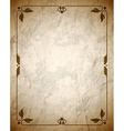 Crumpled brown frame with ornament vector image