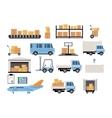 Warehouse flat set of logistics packing process vector image