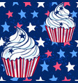 ink hand drawn cupcake seamless pattern july 4th vector image