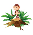 A monkey above a trunk vector image