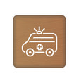 ambulance truck icon on wooden blocks vector image