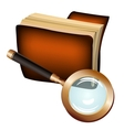 Antique leather notebook and magnifying glass vector image