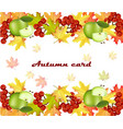 Autumn leaves card decor seasonal teamplate vector image