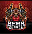 bear gunner esport mascot logo vector image vector image