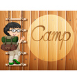 Boy with glasses climbing the ladder vector image vector image