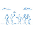 business people holding light lamp creative vector image vector image