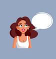 cartoon woman with speech bubble vector image